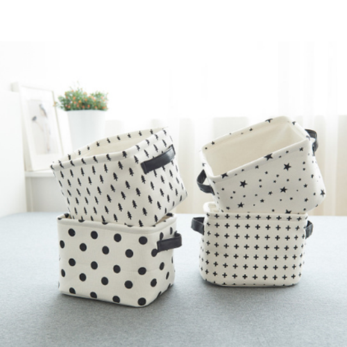 Canvas Storage Baskets, Black & White