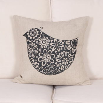 Navy Bird Print Cushion Cover