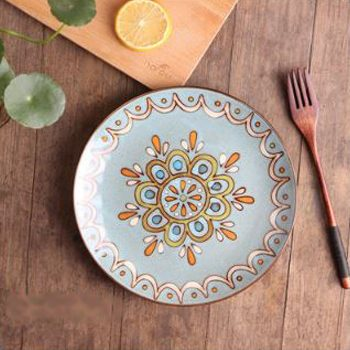 Moroccan Style Decorative Plates - Sky Blue/Orange
