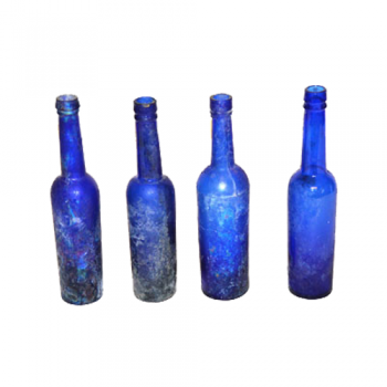 Vintage Blue Bottles (Set of 4)