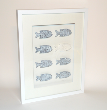 Wall Art, box frame with carved fish