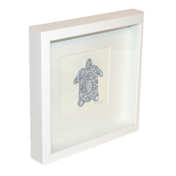 Wall Art, white box frame with carved turtle