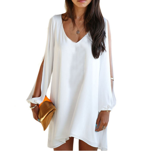 White Swing Dress with Split Sleeve