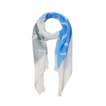 Blue & Grey Tropical Print Scarf