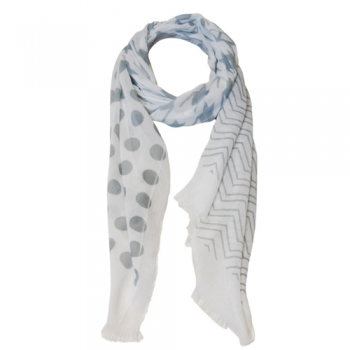 Grey & White Print Scarf