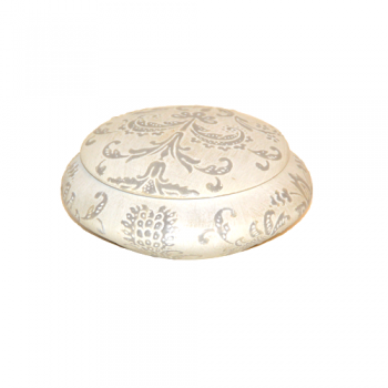 Ivory ceramic trinket bowl with lid