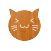 Large Wooden Coaster, Cat