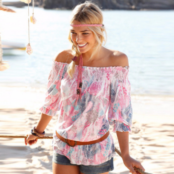 Pink Floral Off-Shoulder Blouse