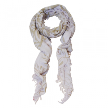 Sand & White Scarf with Tassels