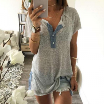 Soft Grey T-Shirt with Denim Trim3
