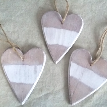 Striped Wooden Heart Decoration