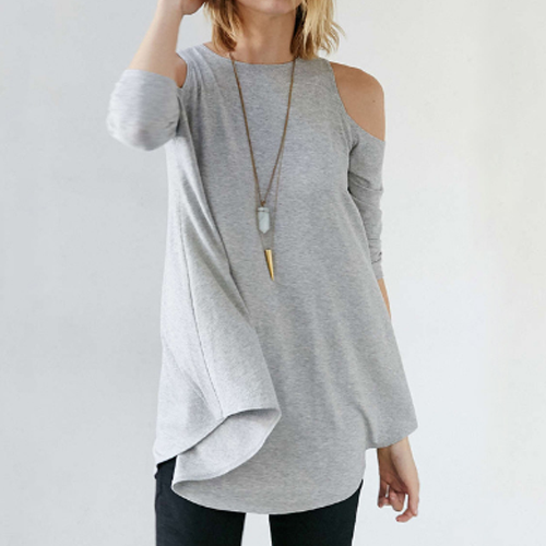 Swing T-Shirt Cut Out Sleeve, Grey