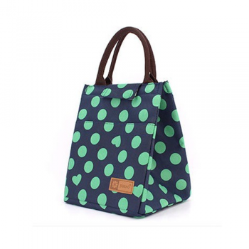 Thermal Lunch Bags - Navy with Green Spots