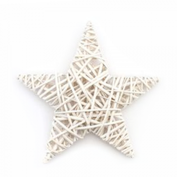 Wicker Star Ornament, White