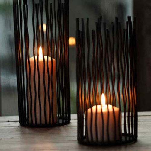 Black Metal Candle Holders, Set of 3