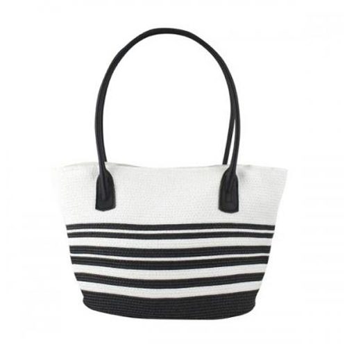 Black & White Woven Tote Bag