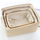 Stone Canvas Storage Baskets, Set of 3