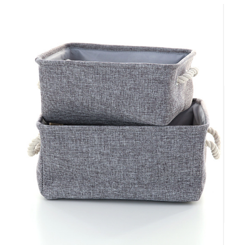 Grey Canvas Storage Baskets, Set of 3 (Grey)