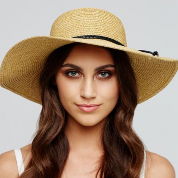 Natural Capeline Hat with black