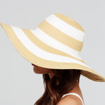Capeline Hat, Natural & White Stripe