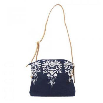 Navy Embroidered Shoulder Bag