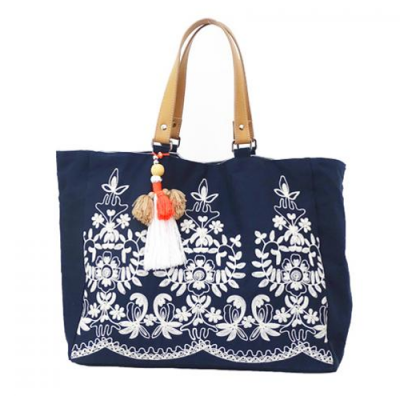 Navy Embroidered Tote Bag