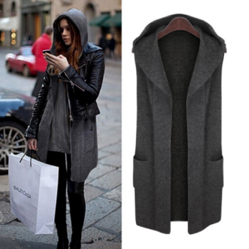 Hooded Grey Knit Vest
