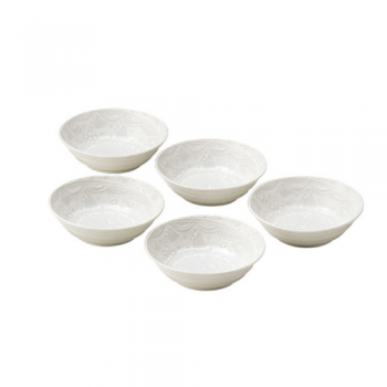 White Mini-Bowls, Embossed Japanese Porcelain