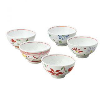Rice Bowls, Japanese Porcelain Floral Designs