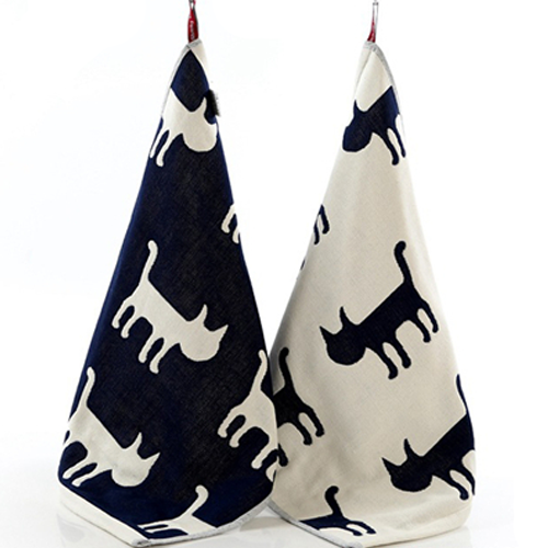 Kitchen Towels, Navy Cats