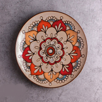 Moroccan Style Decorative Plates - Coffee/Red