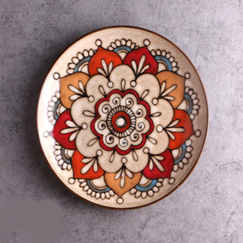 Moroccan Style Decorative Plates_Beige-Red