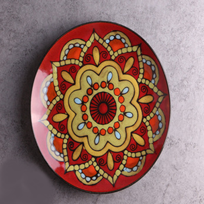 Moroccan Style Decorative Plates_Red-Gold