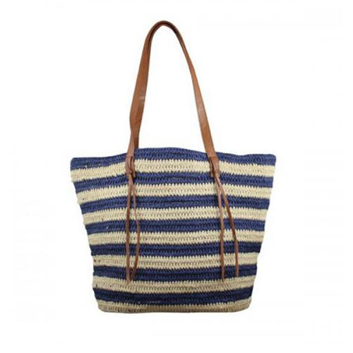 Navy Striped Woven Tote Bag