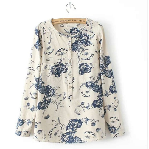 Navy & White Floral Shirt_Front