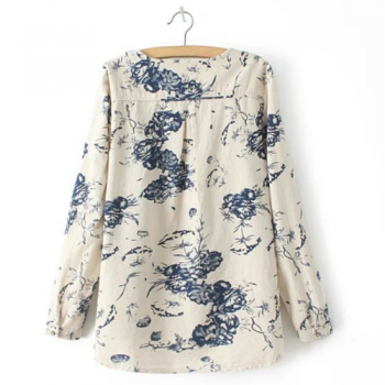 Navy & white Floral Shirt_Back