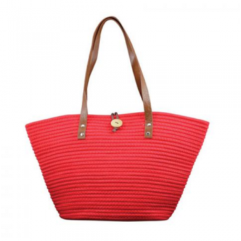 Red Weave Tote Bag