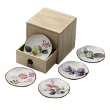 Floral Painted Plates, Box Set of 5