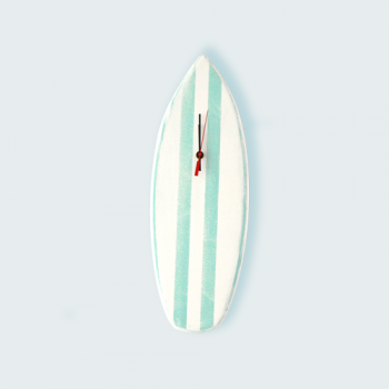 Surf Board Clock, Aqua Stripe