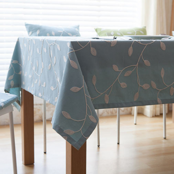 Embroidered Tablecloth, Aqua