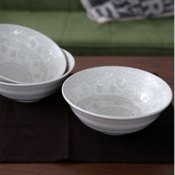 White Dinner Bowls, Embossed Japanese Porcelain