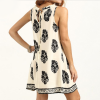 Black & Cream Print Dress, Back