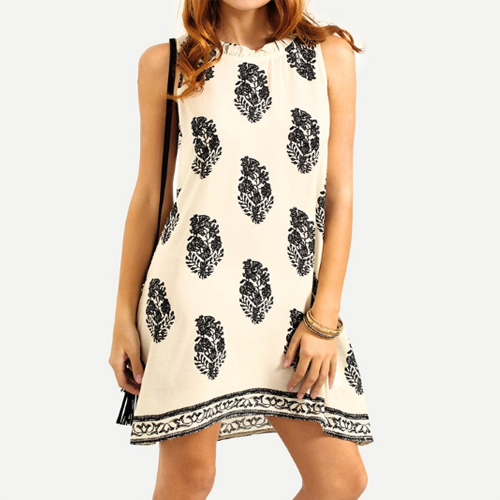 Black & Cream Print Dress