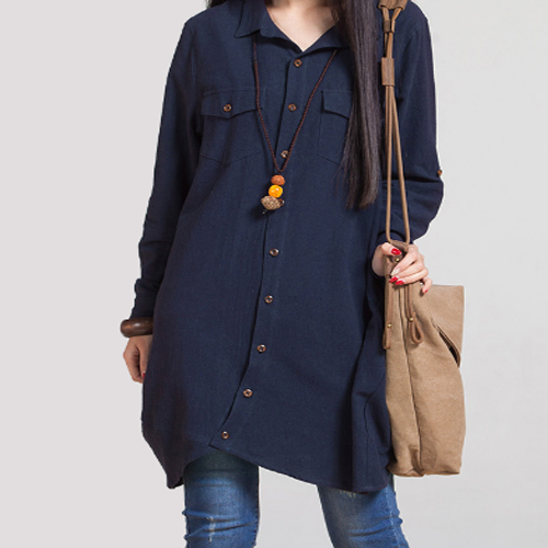 Navy Cotton-Linen Shirt