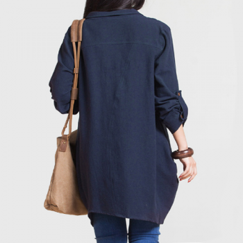 Navy Cotton-Linen Shirt_back