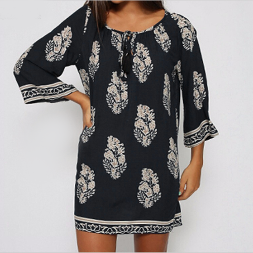 Navy & White Print Dress