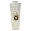 Wood Necklace, Wood Stain & Cream