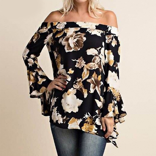 Cream Black Floral Print Blouse