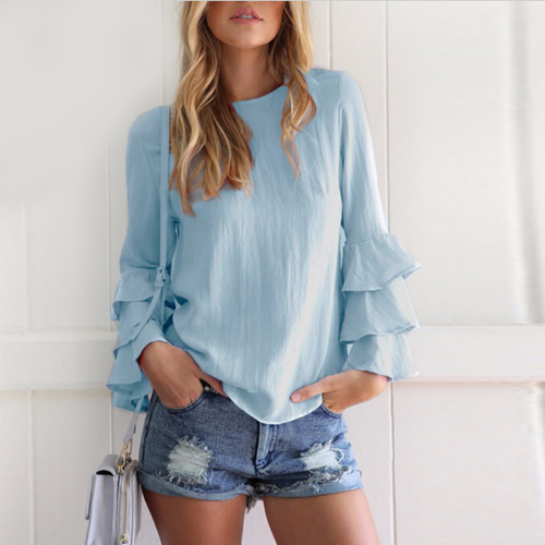 Sky Blue Shirt Frilled Sleeves