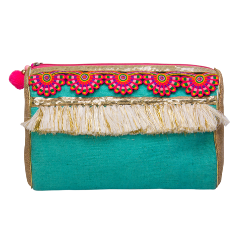 Teal & Tassels Cosmetic Pouch